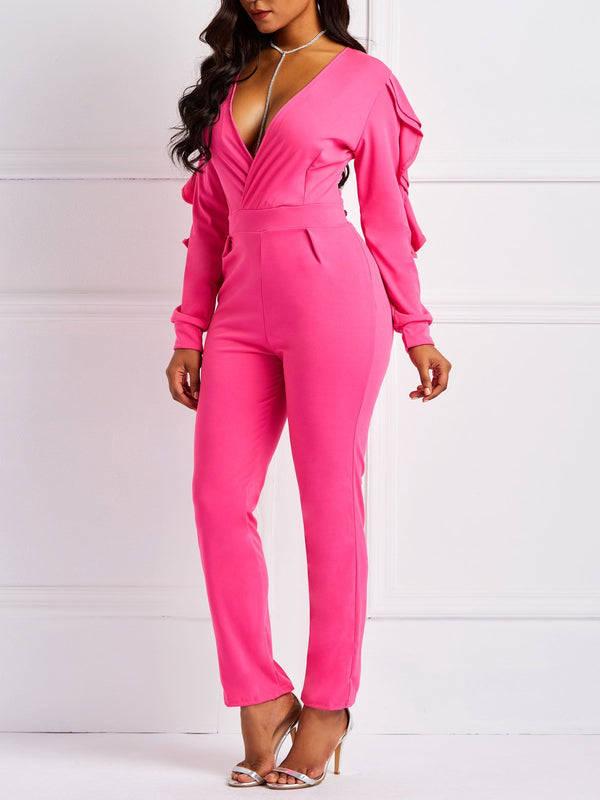 Plain Full Length Casual Pencil Pants Slim Jumpsuits