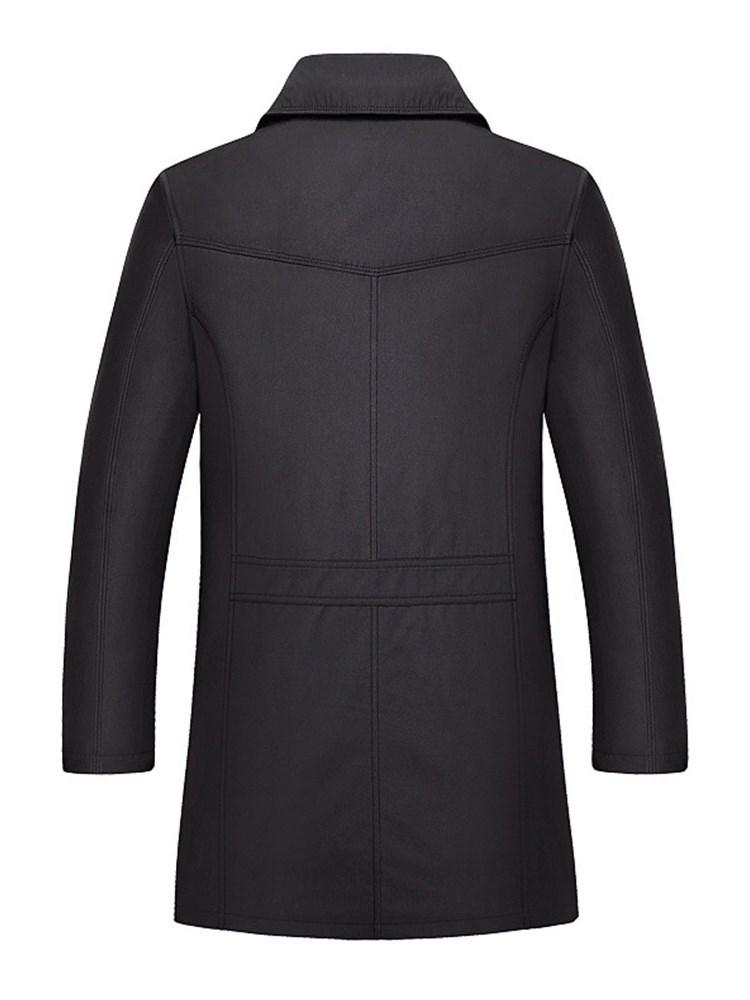 Plain Mid-Length Slim Single-Breasted Trench Coat