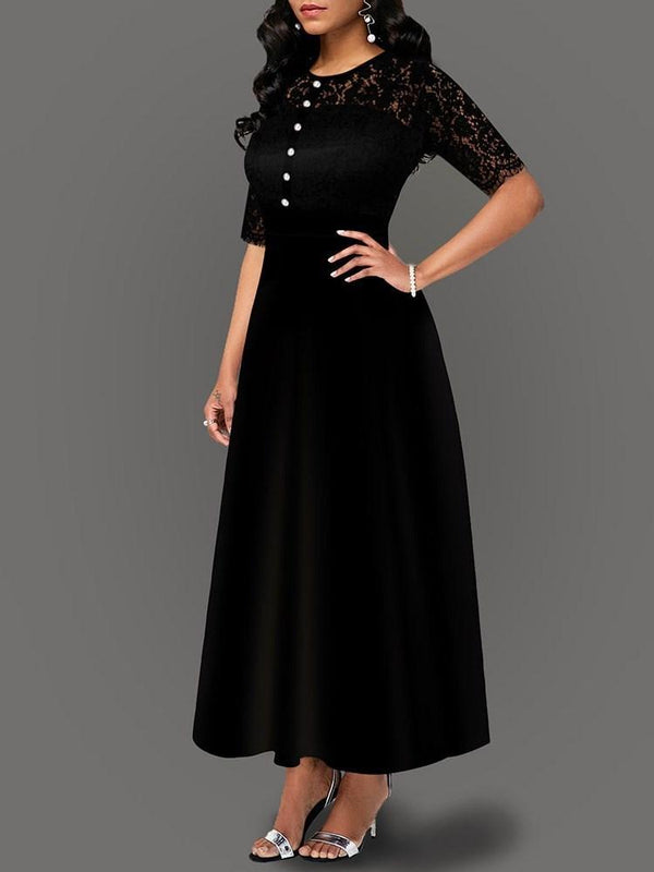 Lace Ankle-Length Round Neck Western Regular Dress