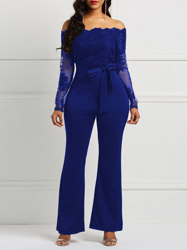 Patchwork Fashion Full Length Slim Wide Legs Jumpsuits