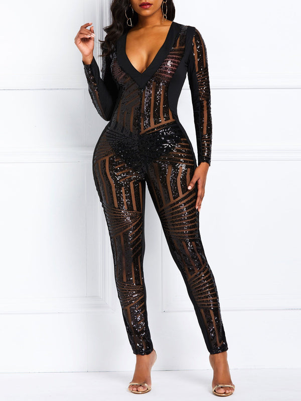Party/Cocktail Sequins Plain High-Waist Pencil Pants Jumpsuits