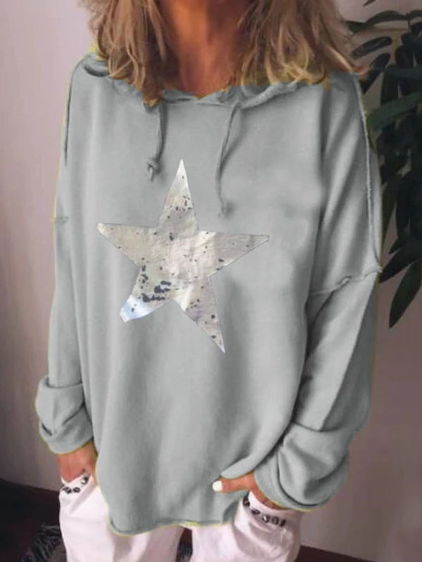Star Print Long Sleeve Hooded Hoodie