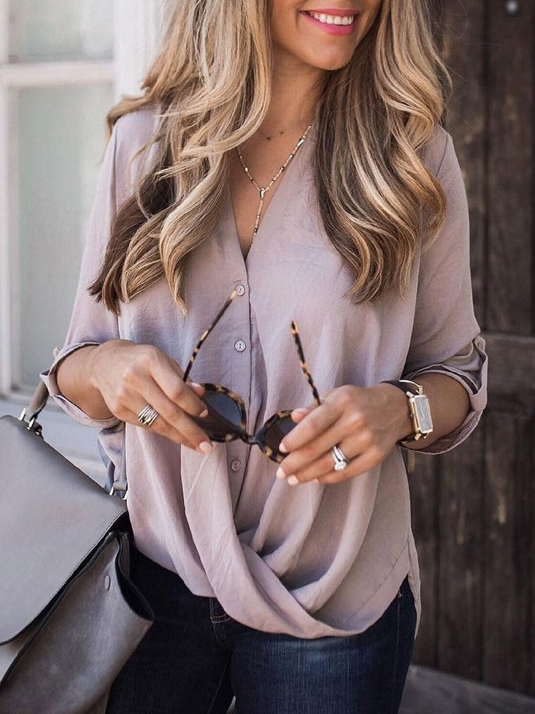 V-Neck Plain Button Three-Quarter Sleeve Standard Blouse