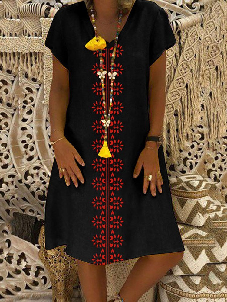 Print V-Neck Short Sleeve Geometric Pullover Dress