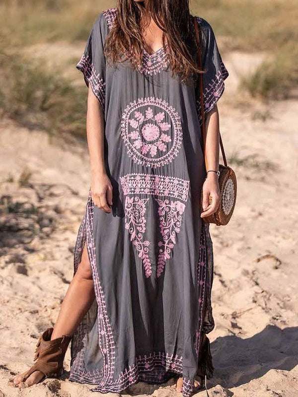 V-Neck Floor-Length Print Color Block Pullover Dress