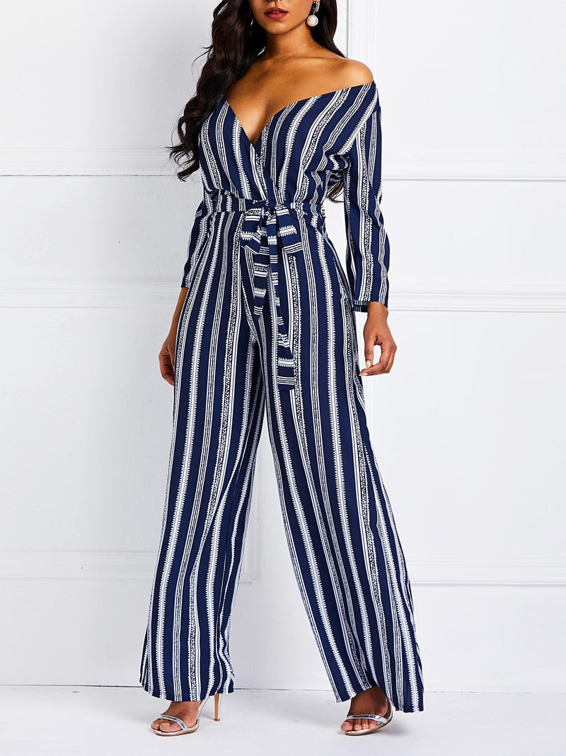 Lace-Up Color Block Full Length Wide Legs Slim Jumpsuits