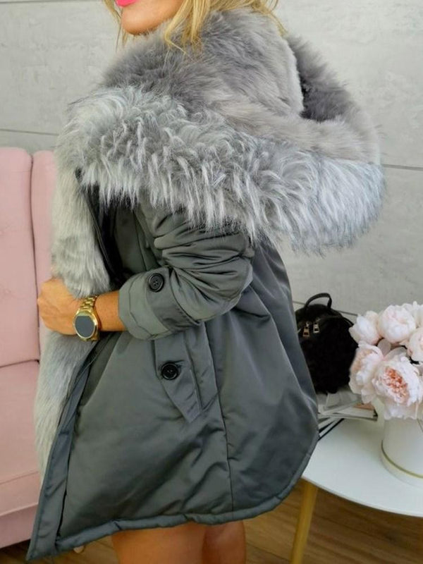Patchwork Single-Breasted Loose Mid-Length Cotton Padded Jacket