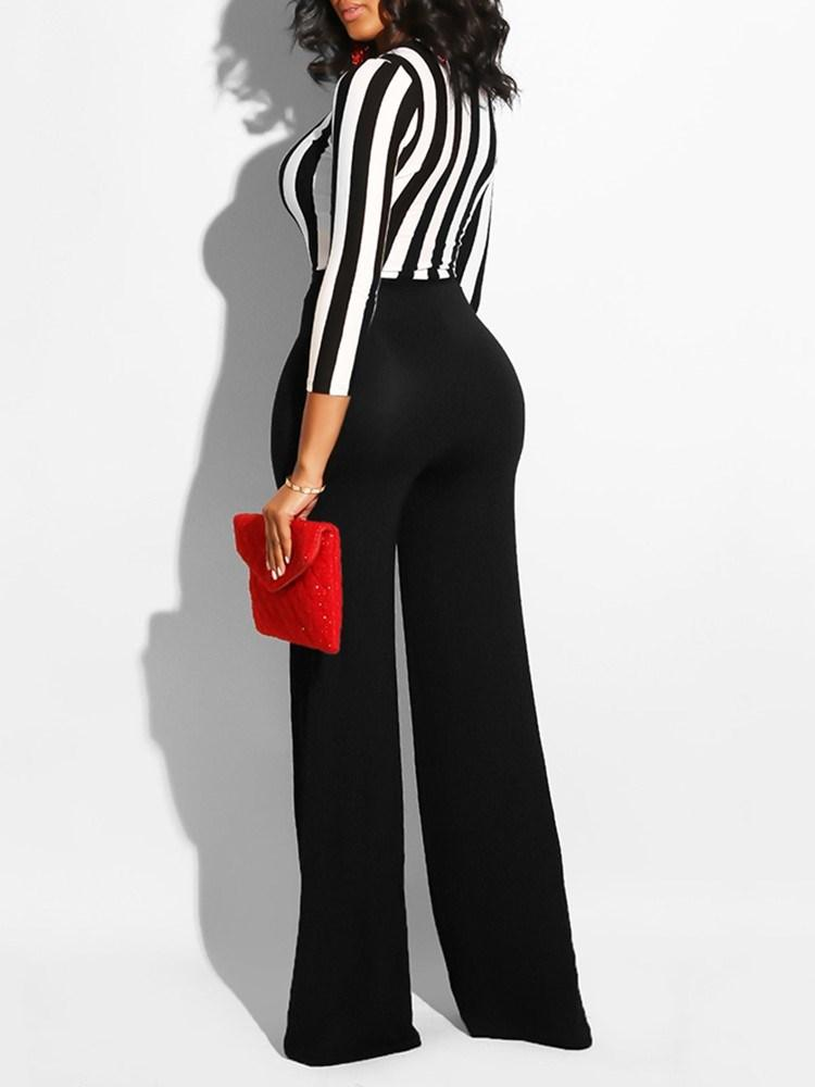 Office Lady Full Length Color Block Wide Legs Skinny Jumpsuits