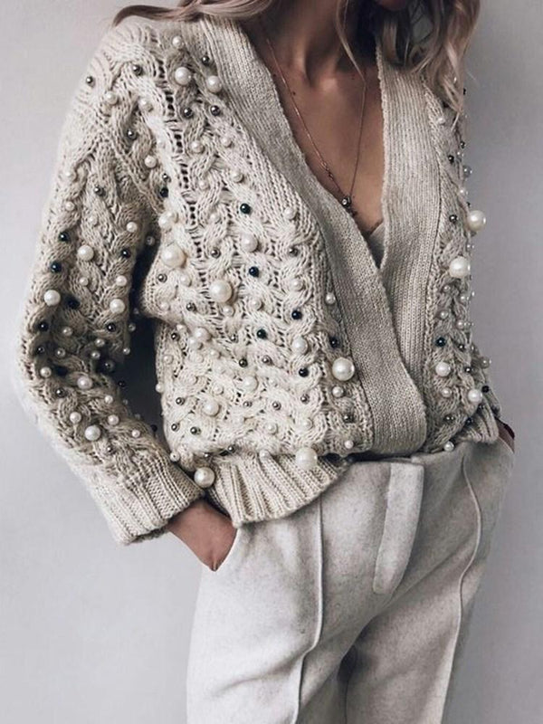 Bead Long Sleeve V-Neck Sweater