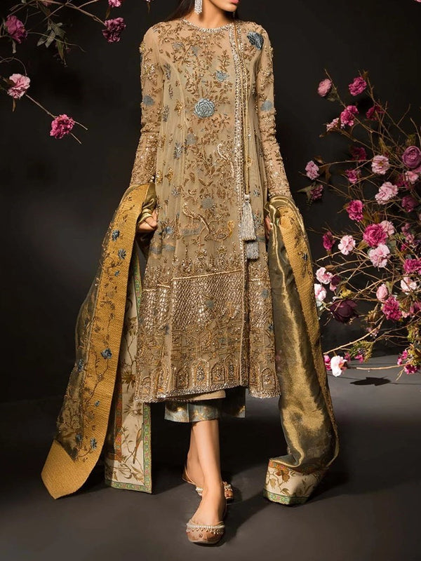 Ethnic Dress Long Sleeve Embroidery Round Neck A-Line Regular Dress Diwali