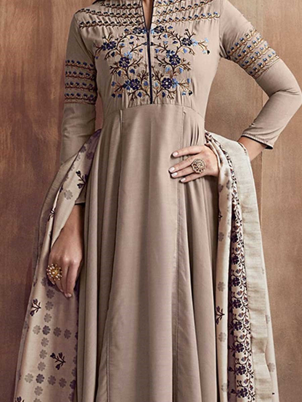 Ethnic Dress Mid-Calf Three-Quarter Sleeve Embroidery Western Pullover Dress Diwali