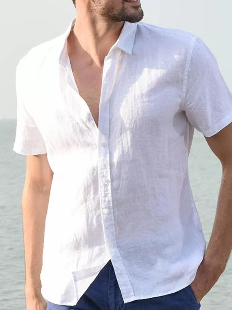 Plain Casual Lapel Single-Breasted Summer Shirt