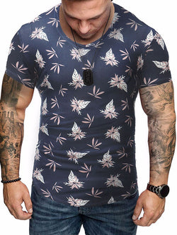 Floral Casual Print Straight Short Sleeve T-shirt