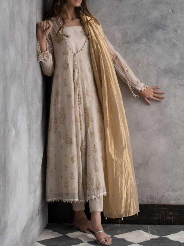 Ethnic Dress Long Sleeve Mid-Calf Print A-Line Pullover Dress Diwali