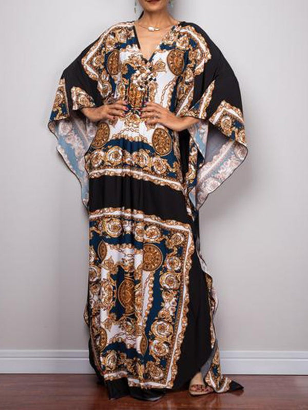 Print Floor-Length V-Neck Pullover Geometric Dress