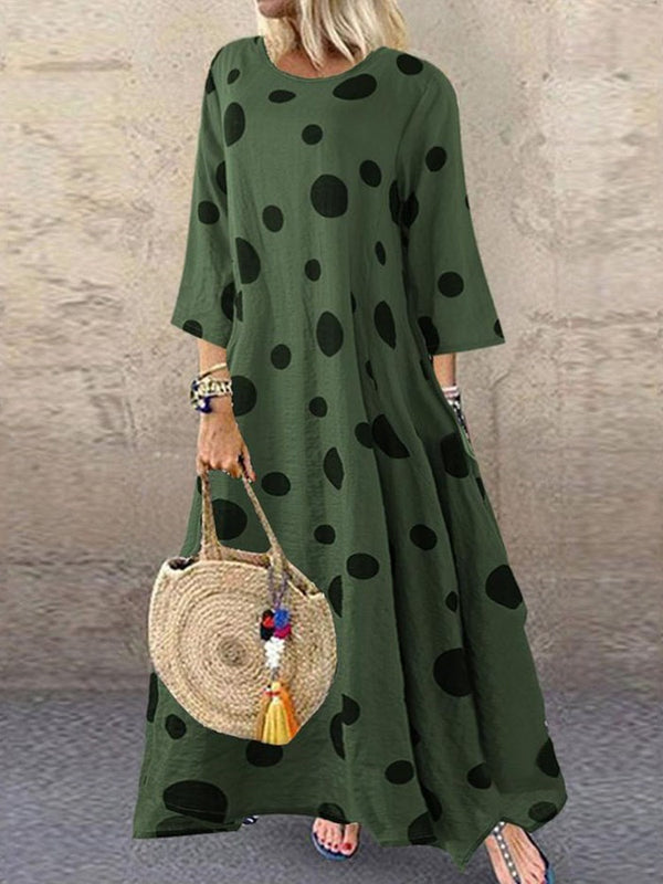 Three-Quarter Sleeve Ankle-Length Round Neck Fall Polka Dots Dress