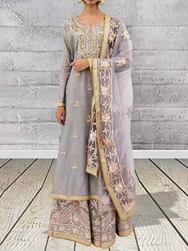 Ethnic Dress Long Sleeve Floor-Length Round Neck Elegant Pullover Dress Diwali