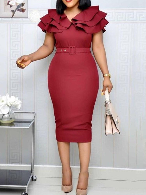 Mid-Calf Short Sleeve Falbala Ruffle Sleeve Bodycon Dress