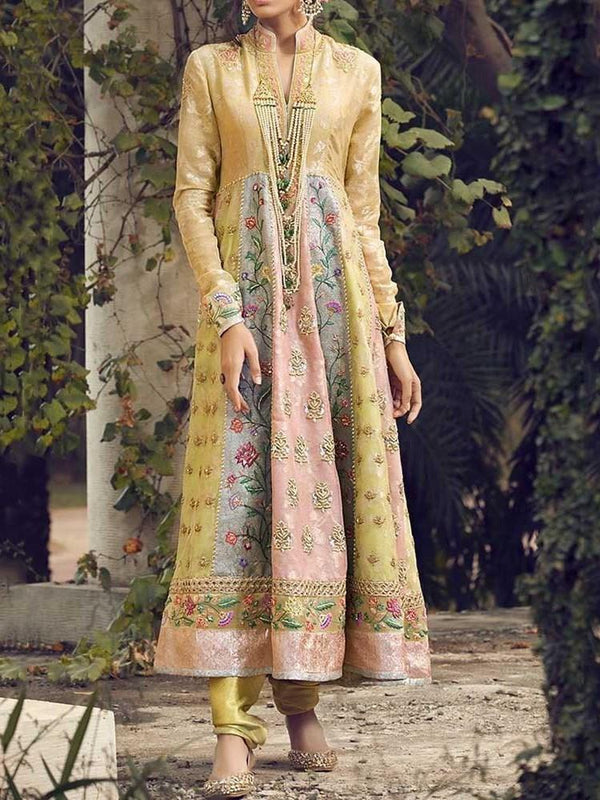 Ethnic Dress Mid-Calf Stand Collar Embroidery A-Line Pullover Dress Diwali