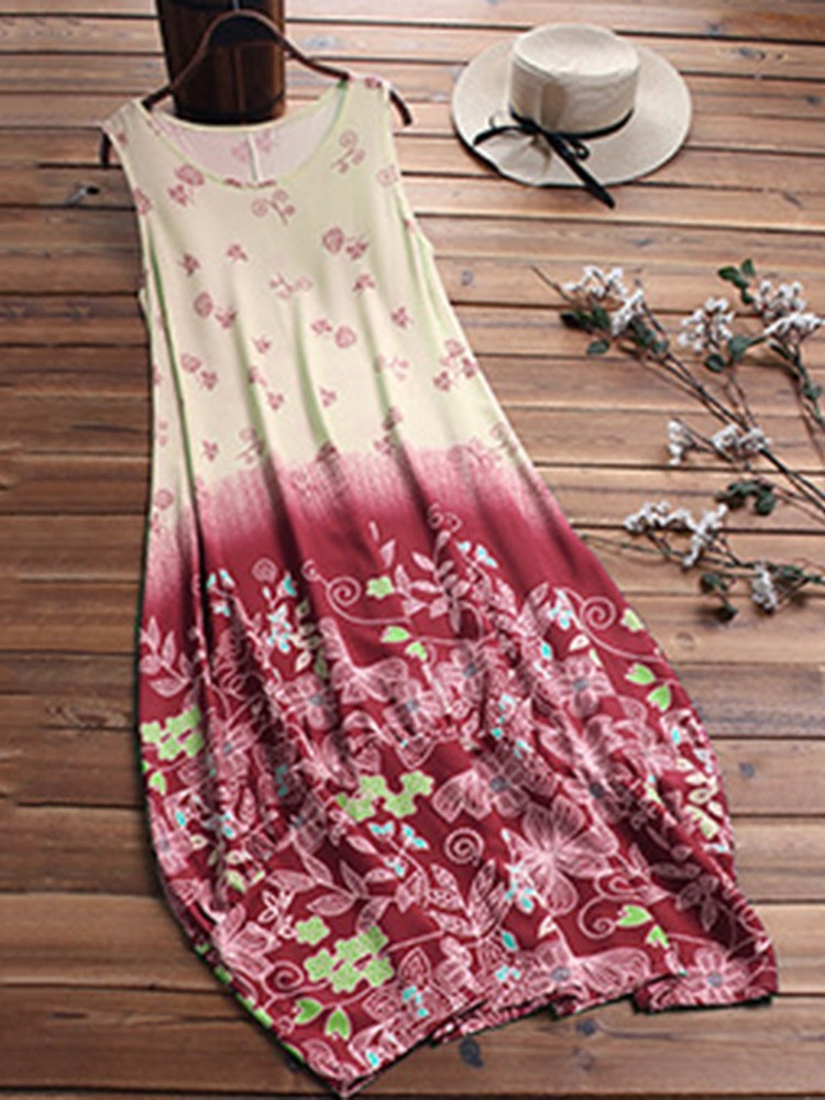 Sleeveless Print Ankle-Length Pullover Casual Dress