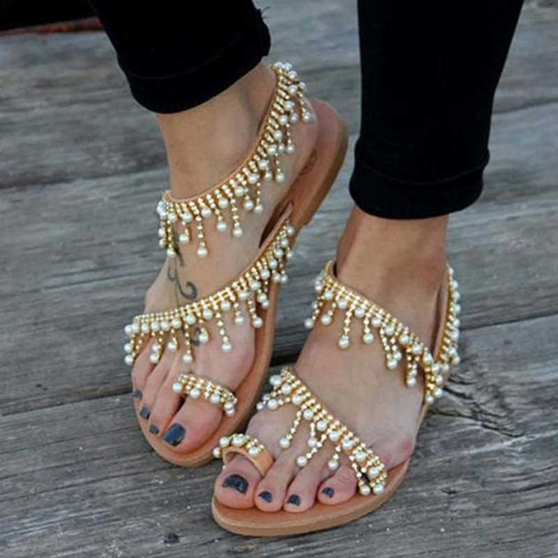 Flat With Toe Ring Ankle Strap Slip-On Casual Low-Cut Upper Sandals
