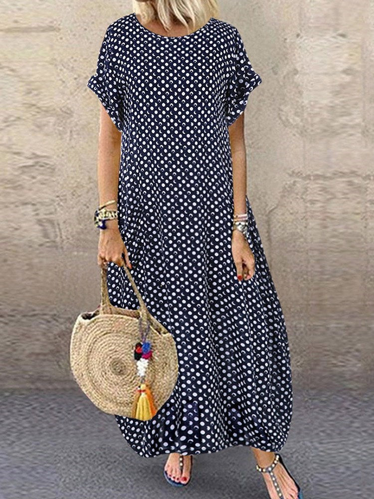Round Neck Ankle-Length Short Sleeve Polka Dots Pullover Dress