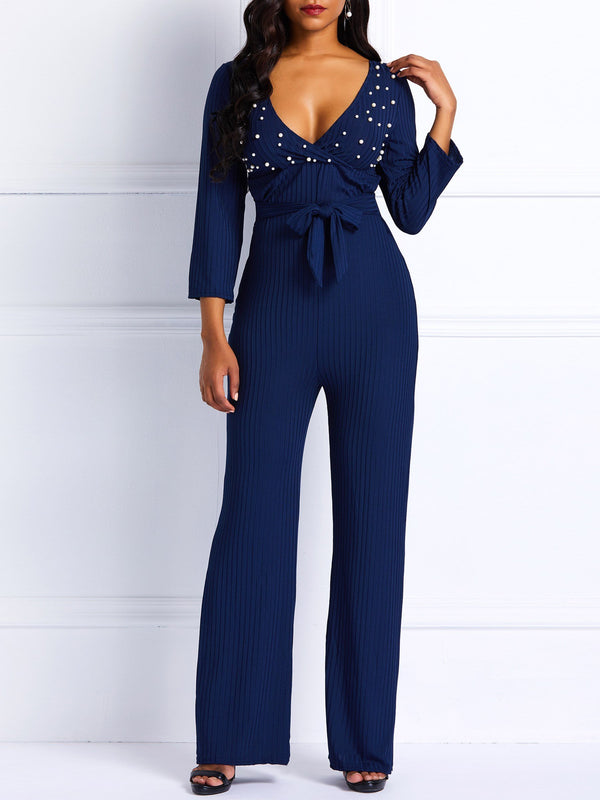 Sexy Full Length Plain High-Waist Slim Jumpsuits