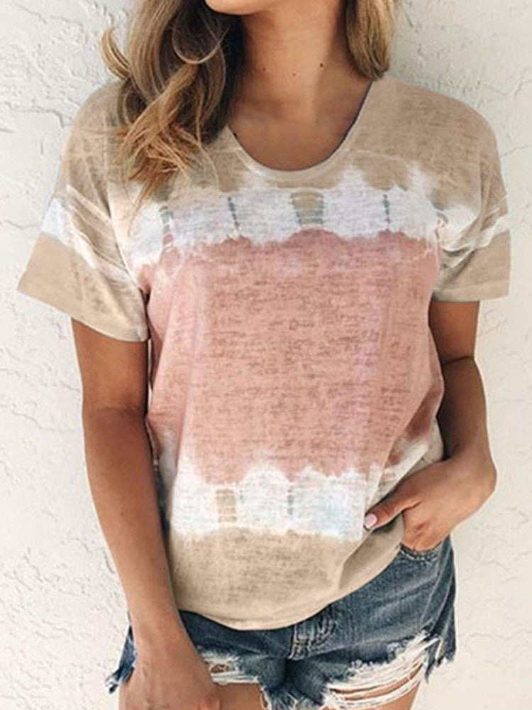 Standard Color Block Short Sleeve Loose Casual T-Shirt