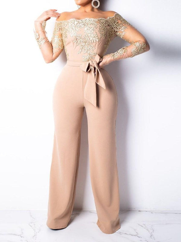Full Length England Patchwork Slim Wide Legs Jumpsuits