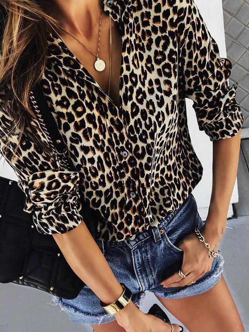 Print Leopard Lapel Mid-Length Long Sleeve Blouse