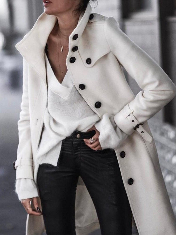 Loose Single-Breasted Lapel Mid-Length Overcoat