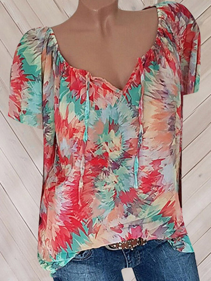 Print V-Neck Color Block Standard Short Sleeve Blouse