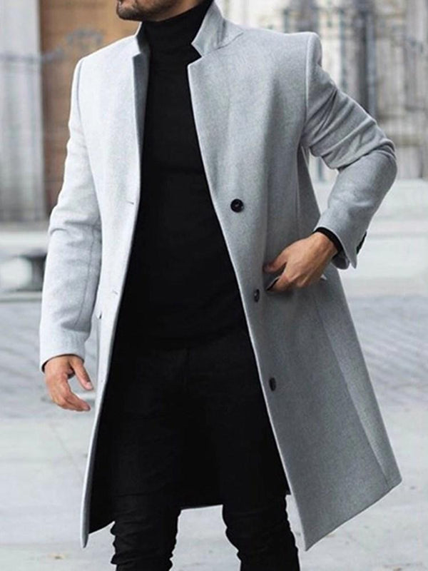 Mid-Length Button Plain A Line Single-Breasted Coat