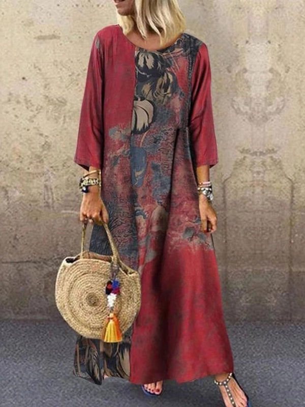 Ankle-Length Three-Quarter Sleeve Print Pullover A-Line Dress