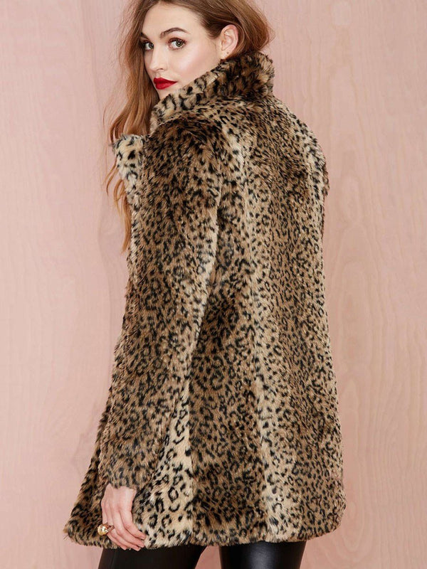 Leopard Straight Pocket Thick Mid-Length Overcoat