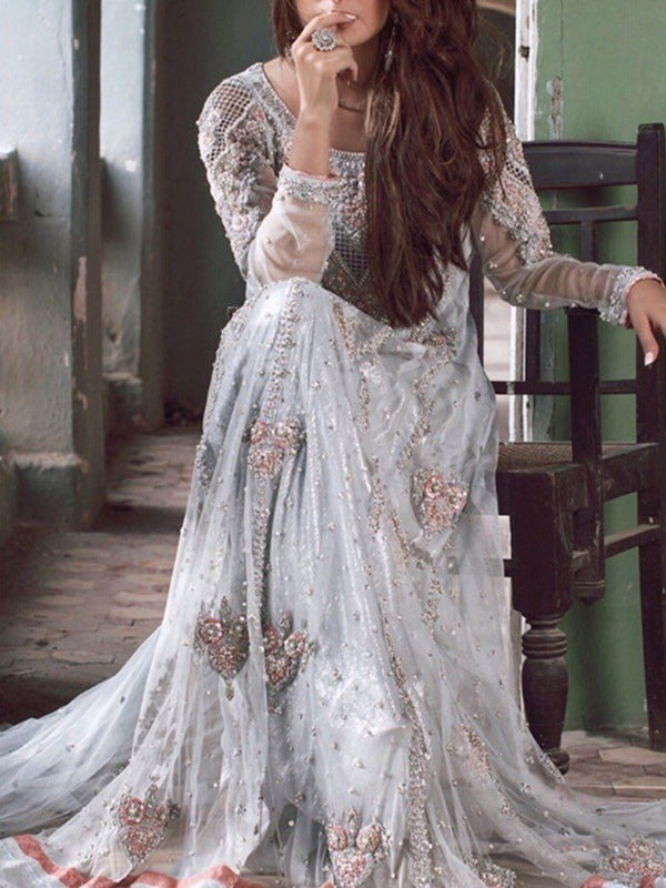 Ethnic Dress Long Sleeve Floor-Length Embroidery Fashion Pullover Dress Diwali