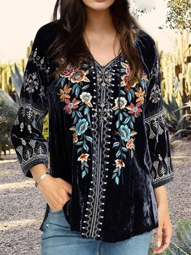 Floral V-Neck Embroidery Three-Quarter Sleeve Standard Blouse
