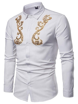 Casual Embroidery Lapel Slim Fall Shirt