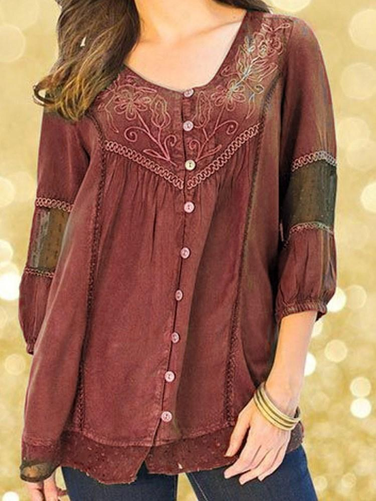 Floral Embroidery Three-Quarter Sleeve Mid-Length Blouse
