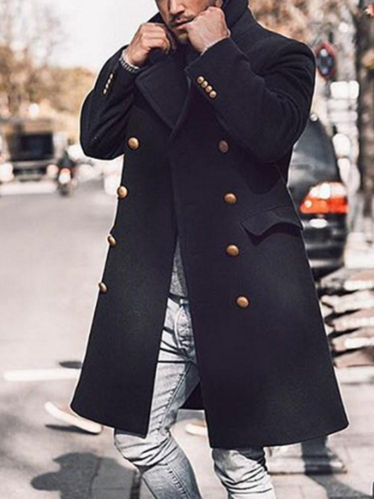Long Plain Patchwork Double-Breasted Fall Coat