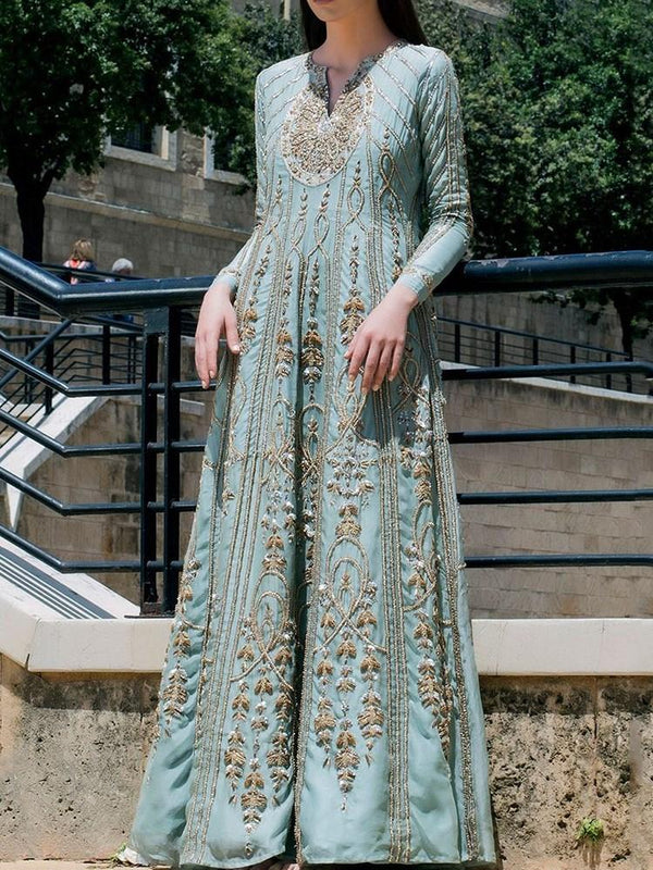 Ethnic Dress Floor-Length Embroidery V-Neck Pullover Expansion Dress Diwali