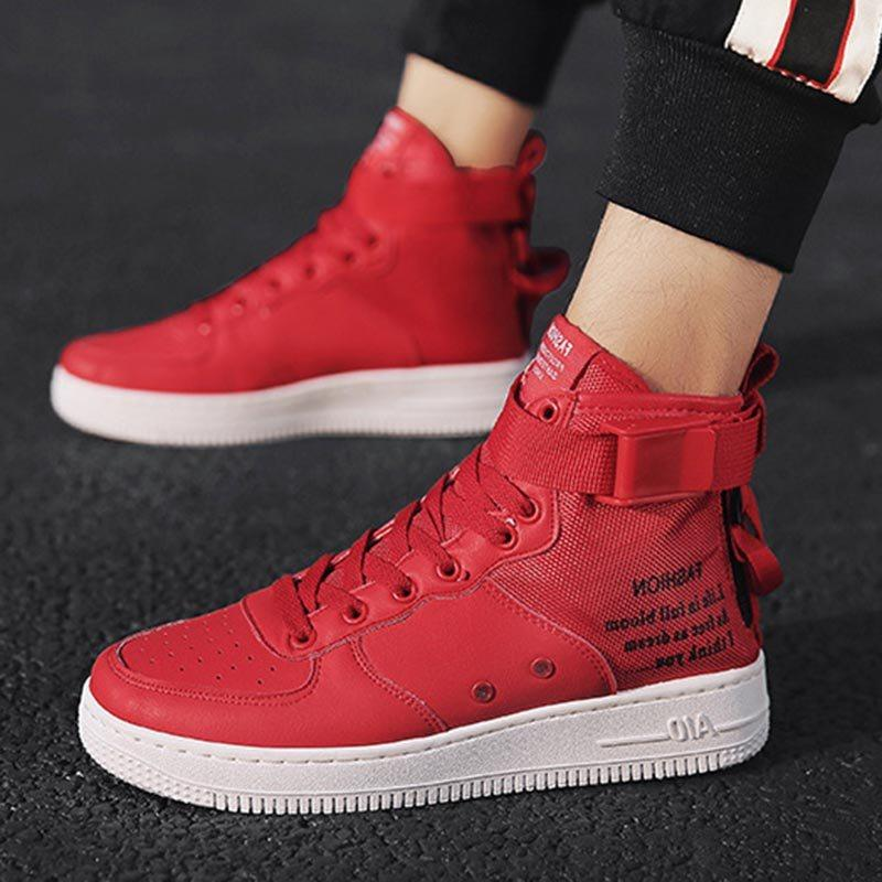 Patchwork High-Cut Upper Lace-Up Round Toe Skate Shoes