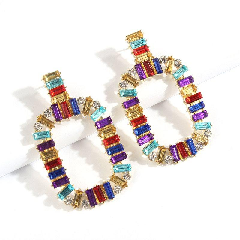 Color Block European E-Plating Holiday Earrings