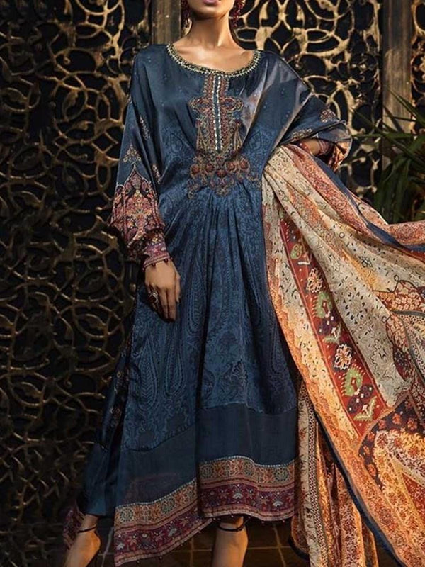 Ethnic Dress Floor-Length Long Sleeve Round Neck Pullover Western Dress Diwali