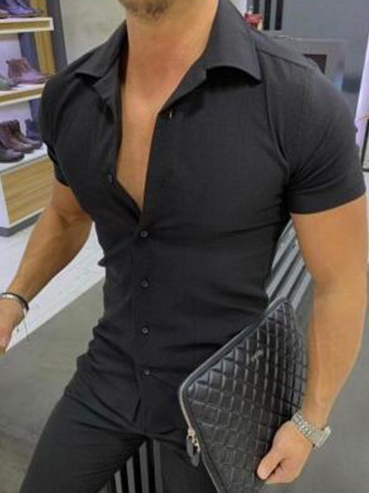 Lapel Casual Button Slim Single-Breasted Shirt