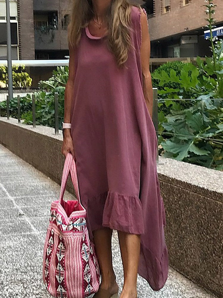 Ankle-Length Patchwork Cap Sleeve Pullover Asymmetrical Dress