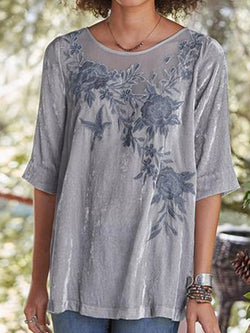 Round Neck Patchwork Floral Standard Half Sleeve Blouse