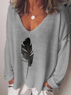 V-Neck Long Sleeve Mid-Length Loose T-Shirt