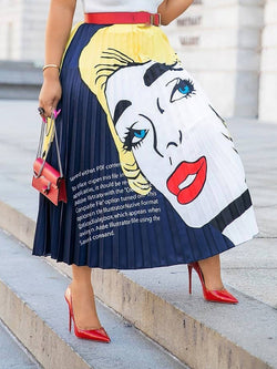 Cartoon Mid-Calf Pleated High Waist Skirt