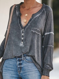 Long Sleeve Mid-Length V-Neck Loose Casual T-Shirt